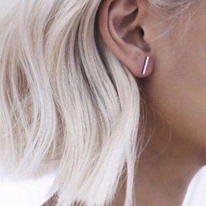 BOHO Dainty T-Bar Silver Stud Earrings